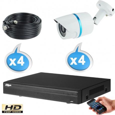 Kit vidéo surveillance 4 caméras tubes HD-CVI 1 Megapixels HD 720P + Disque dur 1000 Go