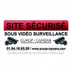 Autocollant Vinyle Site sécurisé sous Vidéo Surveillance dimensions 100 x 50 mm