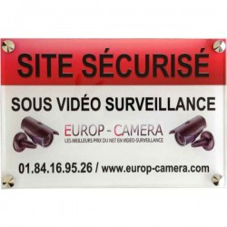 Panneau PVC Site sécurisé sous Vidéo Surveillance dimensions 300 x 200 x 5 mm