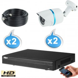 Kit vidéo surveillance 2 caméras tubes HD-CVI 1 Megapixels HD 720P + Disque dur 1000 Go