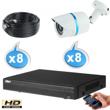 Kit vidéo surveillance 8 caméras tubes HD-CVI 1 Megapixels HD 720P + Disque dur 1000 Go
