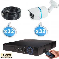 Kit vidéo surveillance 32 caméras tubes HD-CVI 1 Megapixels HD 720P + Disque dur 1000 Go