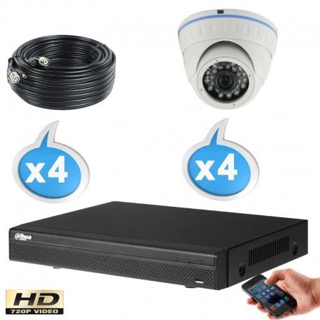 Kit vidéo surveillance 4 caméras dômes HD-CVI 1 Megapixels HD 720P IR 20m + Enregistreur DAHUA Disque dur 1000 Go