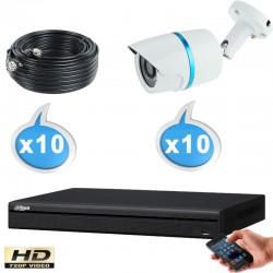 Kit vidéo surveillance 16 caméras tubes HD-CVI 1 Megapixels HD 720P + Disque dur 1000 Go
