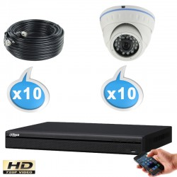 Kit vidéo surveillance 10 caméras tubes HD-CVI 1 Megapixels HD 720P + Disque dur 1000 Go