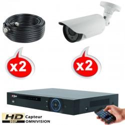 Kit vidéo surveillance 2 caméras tubes HD-CVI 1.3 Megapixels HD 960P + Disque dur 1000 Go