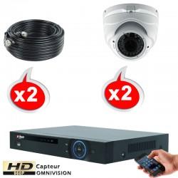 Kit vidéo surveillance 4 caméras dômes HD-CVI 1.3 Megapixels HD 960P + Disque dur 1000 Go