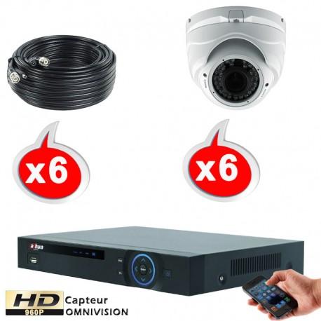 Kit vidéo surveillance 6 caméras dômes HD-CVI 1.3 Megapixels HD 960P + Disque dur 1000 Go