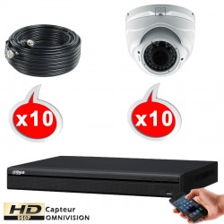 Kit vidéo surveillance 10 caméras dômes HD-CVI 1.3 Megapixels HD 960P + Disque dur 1000 Go