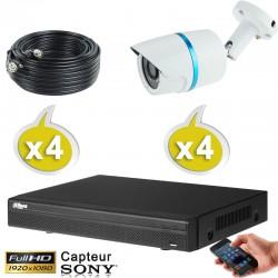 Kit vidéo surveillance 4 caméras tubes HD-CVI 2.4 Megapixels FULL HD 1080P + Disque dur 1000 Go