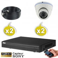 Kit vidéo surveillance 2 caméras dômes HD-CVI 2.4 Megapixels FULL HD 1080P + Disque dur 1000 Go
