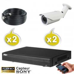 Kit vidéo surveillance 2 caméras tubes HD-CVI 2.4 Megapixels FULL HD 1080P + Disque dur 1000 Go