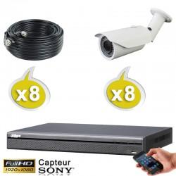 Kit vidéo surveillance 8 caméras tubes HD-CVI 2.4 Megapixels FULL HD 1080P + Disque dur 1000 Go