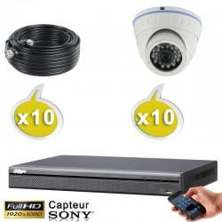 Kit vidéo surveillance 10 caméras dômes HD-CVI 2.4 Megapixels FULL HD 1080P + Disque dur 1000 Go
