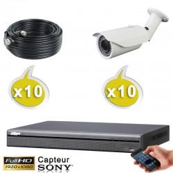Kit vidéo surveillance 10 caméras tubes HD-CVI 2.4 Megapixels FULL HD 1080P + Disque dur 1000 Go