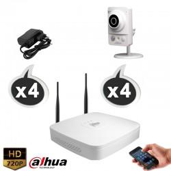 Kit vidéo surveillance DAHUA 4 caméras WIFI 1.3 Megapixels HD 960P + Disque dur 1000 Go