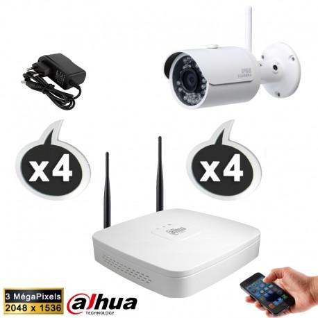 Kit vidéo surveillance 4 caméras WIFI 3 Megapixels + Disque dur 1000 Go