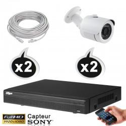 Kit vidéo surveillance 2 caméras tubes IP POE 2.4 Megapixels FULL HD 1080P IR 30m + Enregistreur NVR DAHUA Disque dur 1000 Go