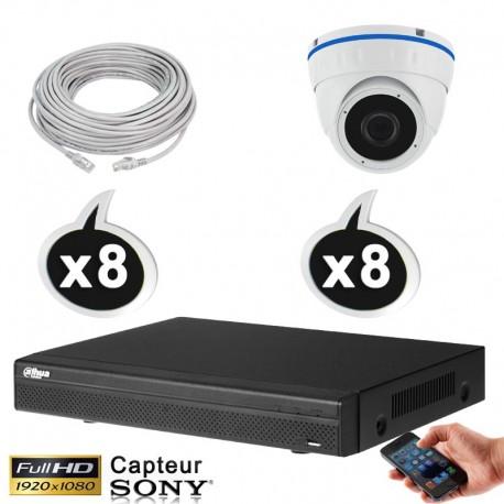 Kit vidéo surveillance 8 caméras dômes IP POE 2.4 Megapixels FULL HD 1080P IR 20m + Enregistreur NVR DAHUA Disque dur 1000 Go