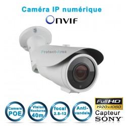 Caméra tube IP POE 1080P FULL HD Infrarouge 40m ONVIF capteur SONY varifocale 2.8-12mm