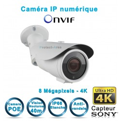 Caméra tube IP POE 4K UHD 8 MegaPixels Infrarouge 40m ONVIF capteur SONY