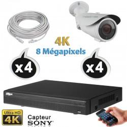 Kit vidéo surveillance 4 caméras tubes IP POE 2.4 Megapixels FULL HD 1080P IR 20m + Enregistreur NVR DAHUA Disque dur 1000 Go