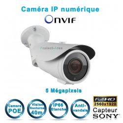 Caméra tube IP POE 5 MegaPixels Infrarouge 40m ONVIF capteur SONY