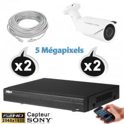 Kit vidéo surveillance 2 caméras tubes IP POE 5 Megapixels H265 IR 40m + Enregistreur NVR DAHUA Disque dur 1000 Go