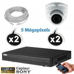 Kit vidéo surveillance 2 caméras dômes IP POE 5 Megapixels H265 IR 40m + Enregistreur NVR DAHUA Disque dur 1000 Go