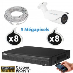Kit vidéo surveillance 8 caméras tubes IP POE 5 Megapixels H265 IR 40m + Enregistreur NVR DAHUA Disque dur 1000 Go