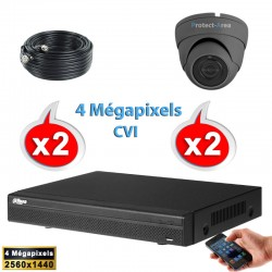 Kit vidéo surveillance 2 caméras dômes HD-CVI 4 Megapixels IR 20m + Enregistreur DAHUA Disque dur 1000 Go