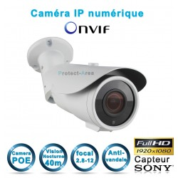 Caméra tube IP POE 1080P FULL HD Infrarouge 40m ONVIF capteur SONY Auto-Zoom x5