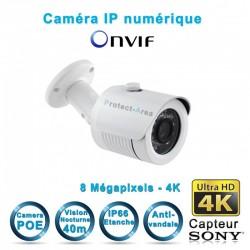 Caméra tube IP POE 4K UHD 8 MegaPixels Infrarouge 30m ONVIF capteur SONY