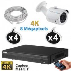 Kit vidéo surveillance 4 caméras tubes IP POE 4K UHD 8 Megapixels H265 IR 30m + Enregistreur NVR DAHUA Disque dur 1000 Go
