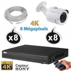 Kit vidéo surveillance 8 caméras tubes IP POE 4K UHD 8 Megapixels H265 IR 30m + Enregistreur NVR DAHUA Disque dur 1000 Go