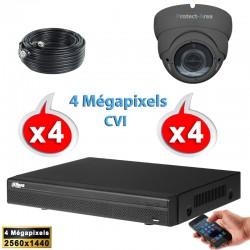 Kit vidéo surveillance 4 caméras dômes HD-CVI 4 Megapixels IR 20m + Enregistreur DAHUA Disque dur 1000 Go