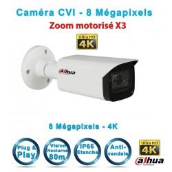 Caméra tube CVI / TVI / AHD / Analogique IR 80m DAHUA 8 MégaPixels UHD 4K Zoom Motorisé x3
