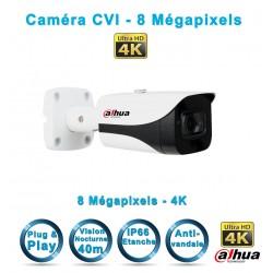 Caméra tube CVI / TVI / AHD / Analogique IR 40m DAHUA 8 MégaPixels UHD 4K