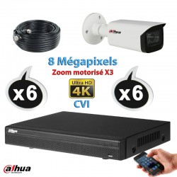 Kit vidéo surveillance DAHUA 6 caméras tubes CVI 8 Megapixels UHD 4K Auto Zoom X3 IR 80m + Enregistreur DAHUA Disque dur 1000 Go