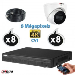 Kit vidéo surveillance DAHUA 8 caméras dômes CVI 8 Megapixels UHD 4K IR 50m + Enregistreur DAHUA UHD 4K Disque dur 1000 Go