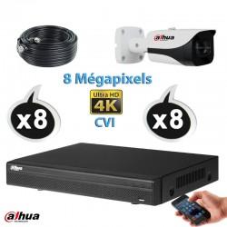 Kit vidéo surveillance DAHUA 8 caméras tubes CVI 8 Megapixels UHD 4K IR 40m + Enregistreur DAHUA UHD 4K Disque dur 1000 Go