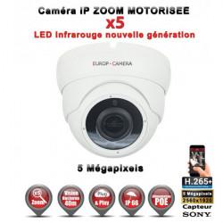 Dôme IP Zoom Motorisée X5 anti-vandal IR 35M ONVIF POE Capteur SONY 5 MegaPixels - Caméra surveillance IP