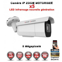 Tube IP Zoom Motorisée X5 anti-vandal IR 60M ONVIF POE Capteur SONY 5 MegaPixels - Caméra surveillance IP