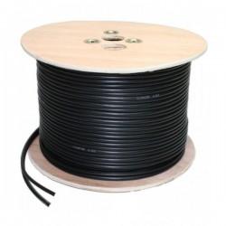 Câble 2 en 1 : Coaxial KX6 + Alimentation 2G0.5 noir bobine de 100m